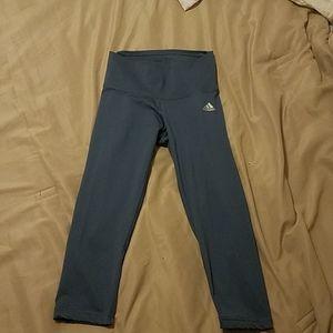 Adidas Gray Capri Leggings Mid-rise Climalite XS